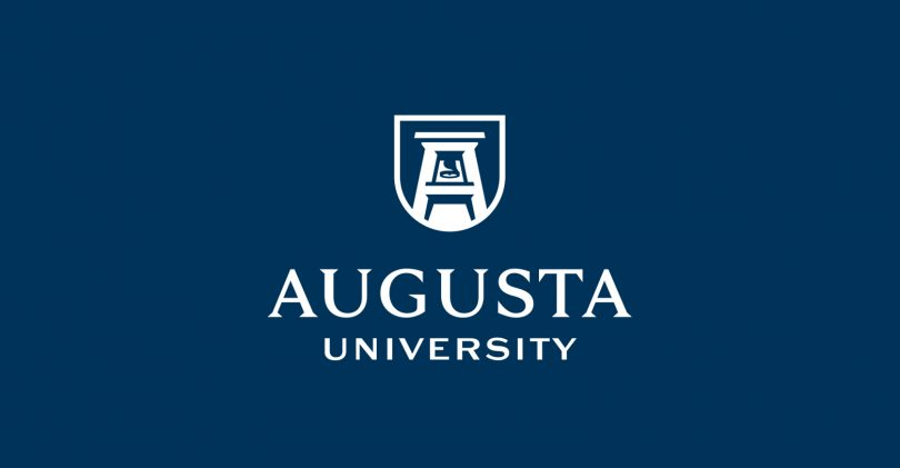 blue background that says augusta university