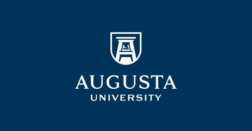 blue background that says augusta university