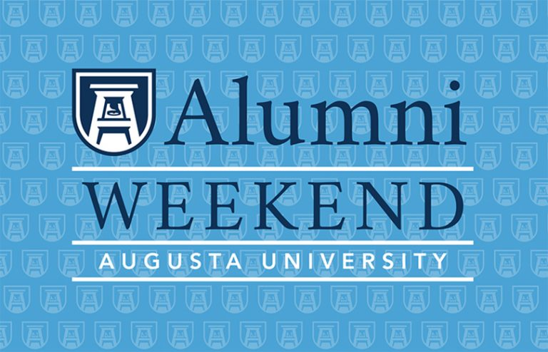 sign that says alumni weekend augusta university