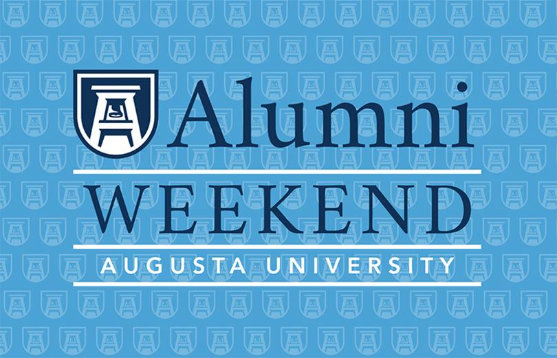 sign that says alumni weekend augusta university