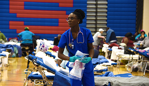 Nurse in hurricane shelter