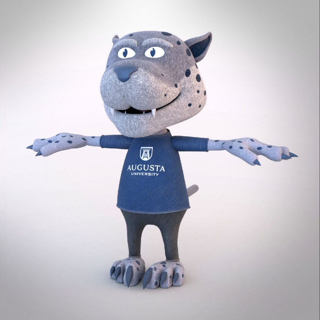 animated version of a jaguar mascot with a shirt that says Augusta University