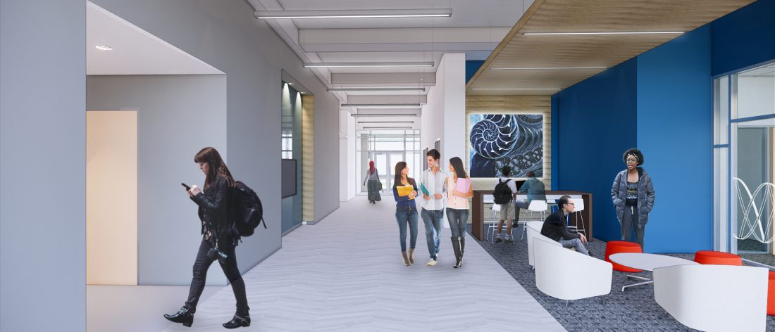 Color rending of what lobby of the College of Science and Mathematics Building may look like after construction.