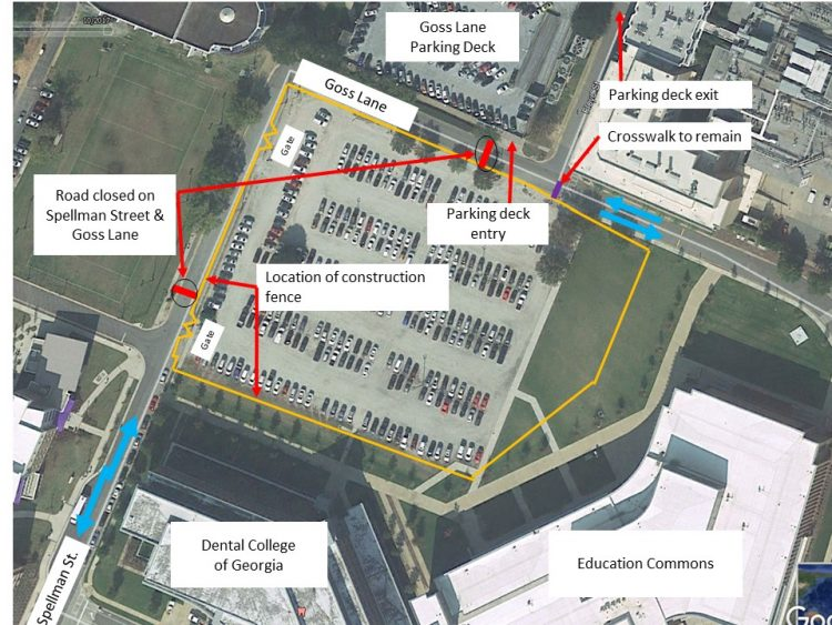 Aerial map of Health Sciences Campus shows Goss Lane and Spellman Street and includes work areas identified in red where the road will be closed.