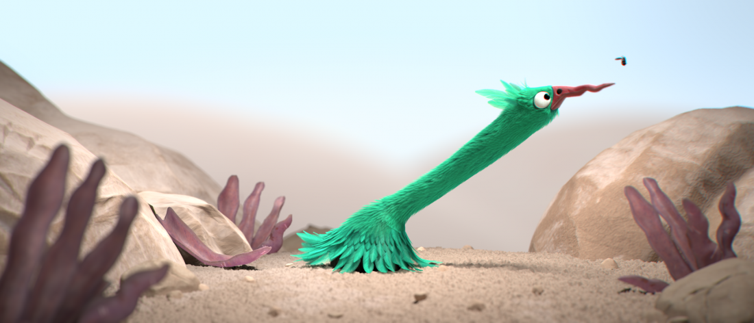 animated bird in a desert