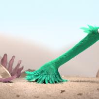 animated bird in a desert