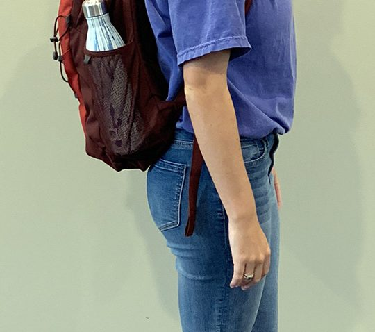 Person standing with packpack