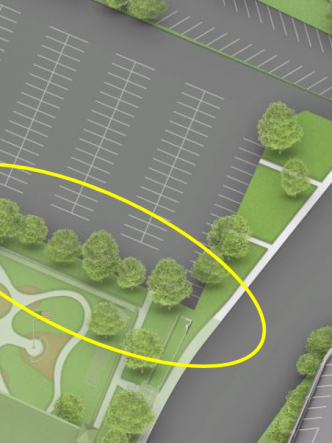 Color aerial rendering of Lot 30 with treeline circled in yellow.