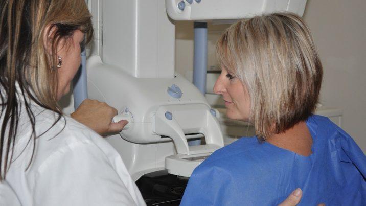 Woman getting a mammogram.