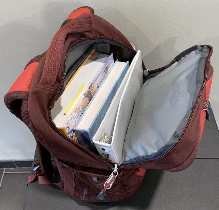 backpack full of books