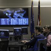 Students in the School of Computer and Cyber Sciences Cyber Lab.