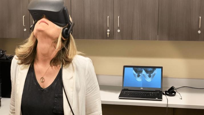 Woman using virtual reality
