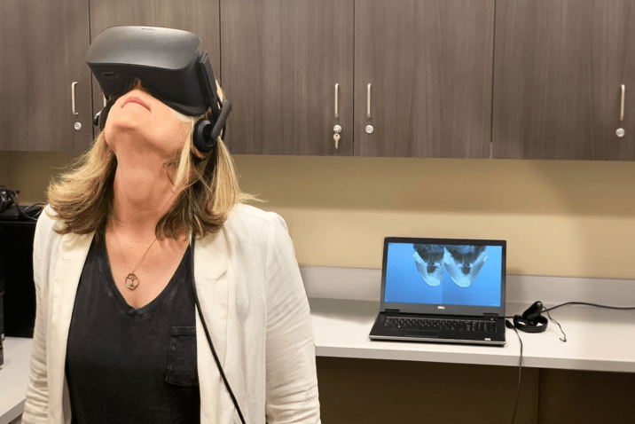 Woman using virtual reality