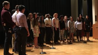 group of students singing