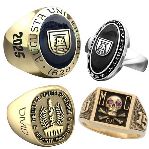 Four Augusta University ring samples in gold and silver
