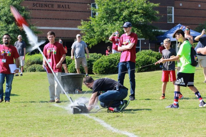 Students launch a rocket.