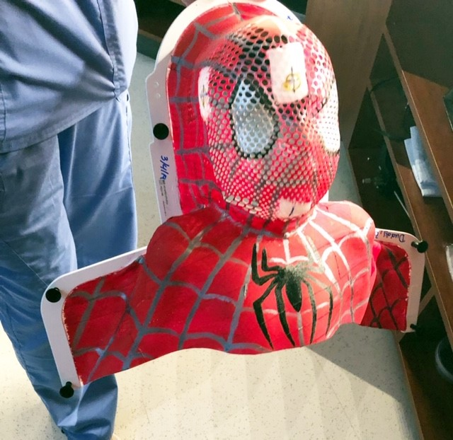 Spider-man mask used for radiation therapy treatment