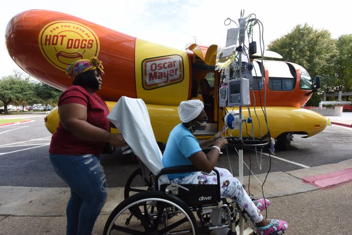 patient visits wienermobile
