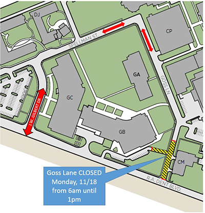 Color map of closed area of Goss Lane
