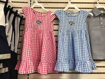 pink and blue gingham girls' dresses with Jag head