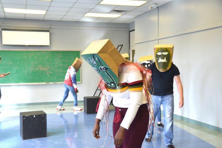 Students rehearsing for Grendel.