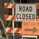 Road Closed sign and detour sign