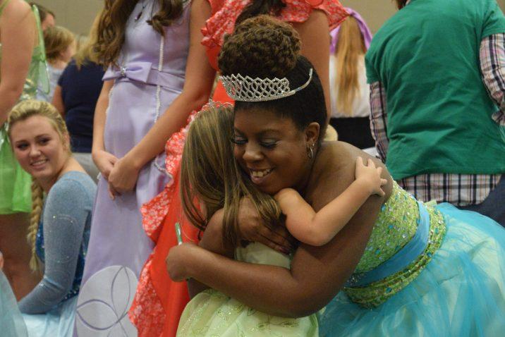 girl hugs princess