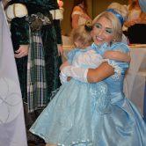 girl hugs Cinderella