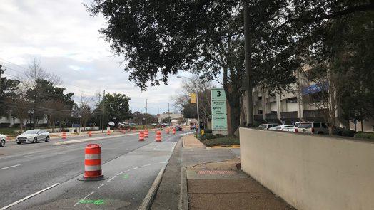 construction barrels at hospital entrance