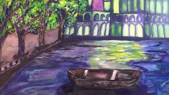 canvas painting of a boat on a river