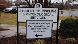 sign that says student counseling and psychological services