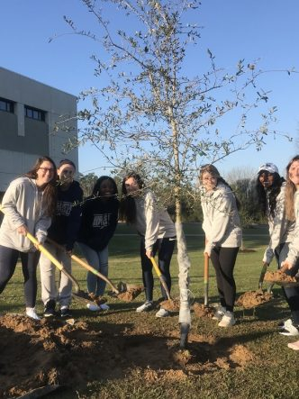 8 students with shovels of dirt planting a tree