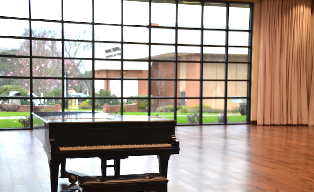 piano in a recital hall