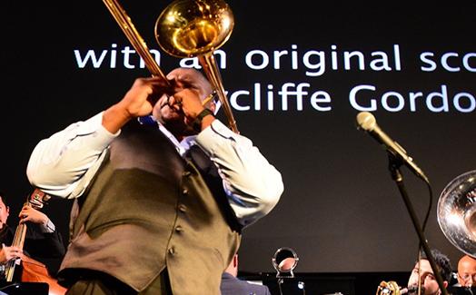 Wycliffe Gordon playing the trombone.