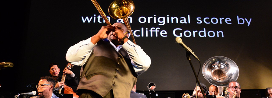 Wycliffe Gordon playing the trombone.