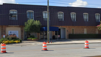 Two-story building with construction out front