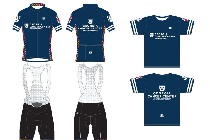 Picture showing cyclist jersey, bib shorts and activewear t-shirt