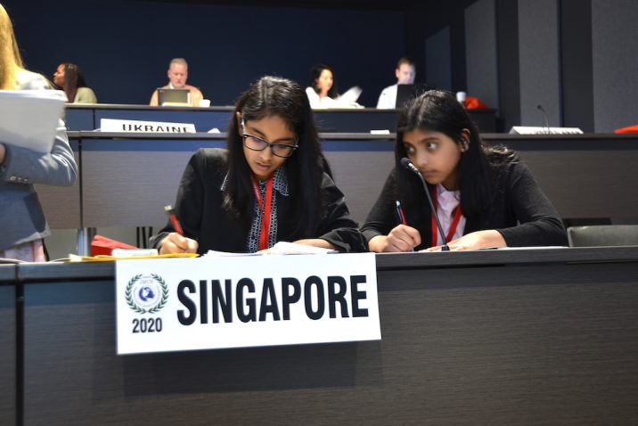 A team working at UN Conference.