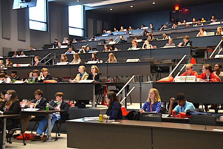 Auditorium full of students.