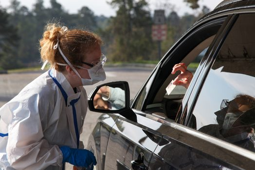 medical professional, patient in car