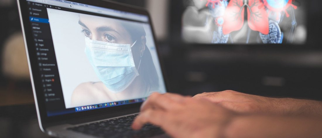 Laptop, woman with mask