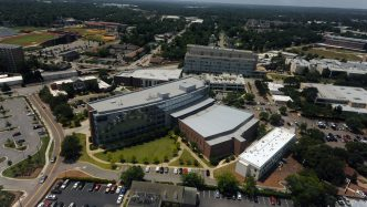 aerial photo of campus