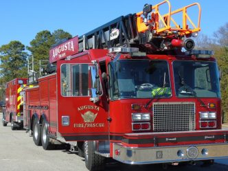 red Augusta Fire Department truck