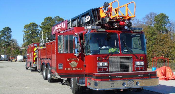 red Augusta Fire Department truck