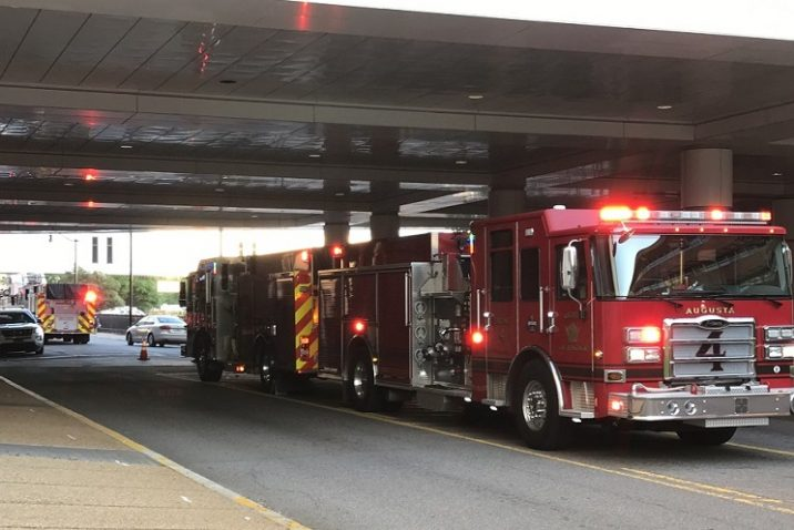 Two firetrucks parked