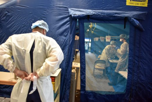 the blue tent in the emergency department