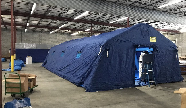 Large blue tent