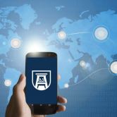 graphic of a cell phone with the AU logo on it; a map of the world is in the background