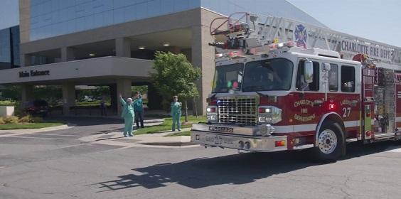 firetruck outside hospital