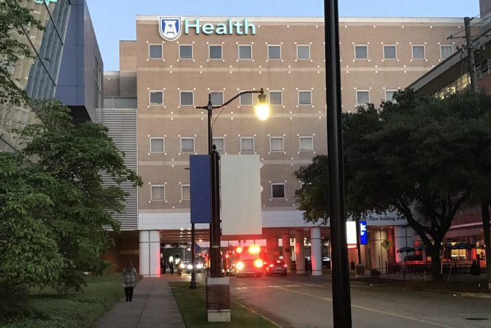 Lighted fire engine under AU Medical office Building